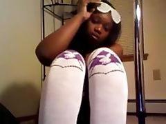 Hot ebony girlfriend performing a pole dance