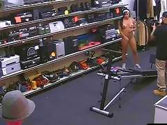 Ebony gym trainer gets fucked by pawn guy at the pawnshop
