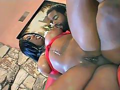 Pretty busty ebony babe fucked in sizling action