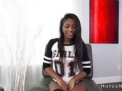Sex tape with hot ebony gf on big dildo and cock