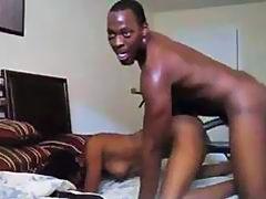 Dude ramming his ebony girlfriend hard