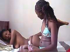Sexy Ebony Babes Enjoying Hot Lesbian Action